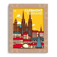 Affiche Cathédrale de Clermont-Ferrand Jaune