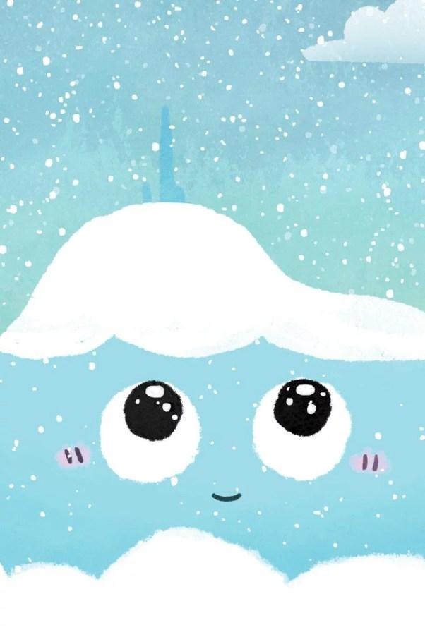Détail de l'affiche Puy de Dôme avec la neige et les flocons