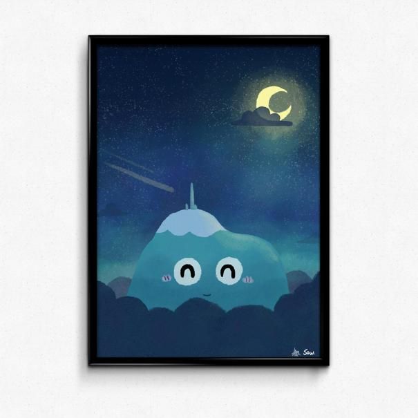 Poster illustré par Sow, représentant le Puy de Dôme de nuit