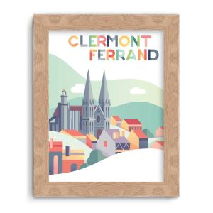 illustration pour petite affiche cathédrale de clermont couleurs pop