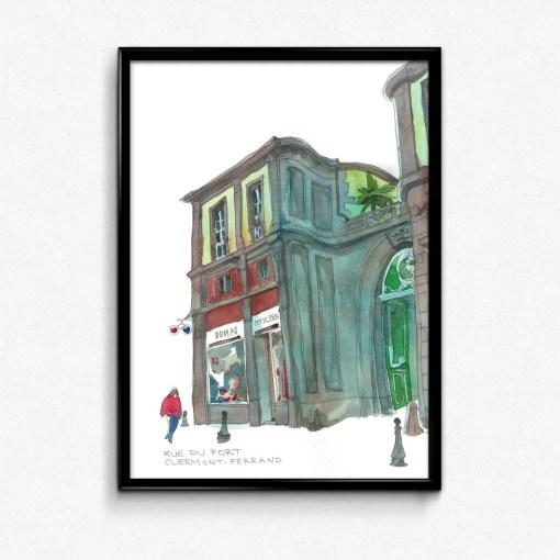 tirage rue du port façon aquarelle