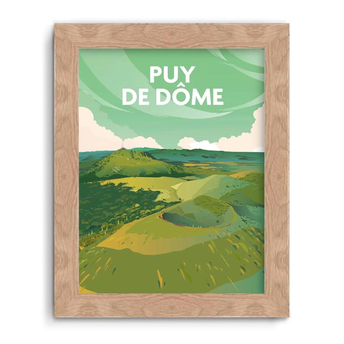 affiche 30x40 illustration Puy de Dôme en France