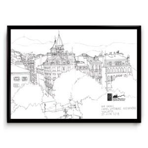 dessin en noir et blanc au crayon d'une vue sur la place Delille (clermont-ferrand) vue d'en haut