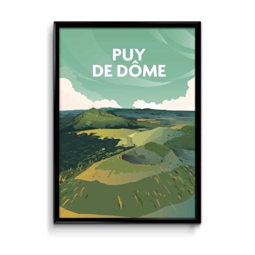 affiche puy de dôme illustrée, dessinée par le graphiste Mickaël Merley