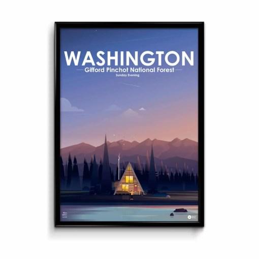 une illustration de cabane trinagulaire enbord de lac au milieu des bois avec un ciel de crépuscule et une chaine de montagnes du Canada en arrière plan