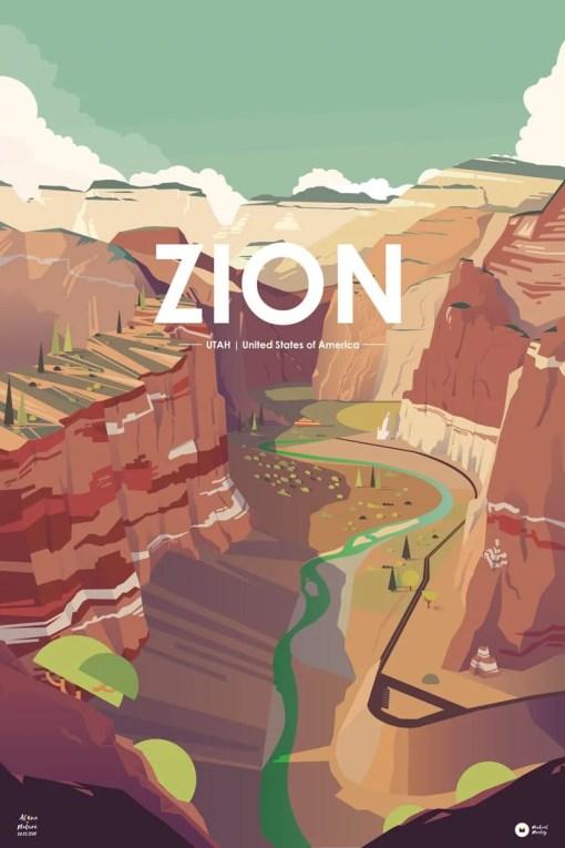 illustration numérique vallée de Zion aux USA
