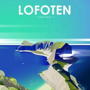 ilustration style vectoriel des îles lofoten