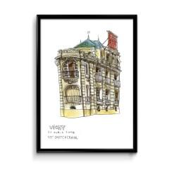 illustration à l'aquarelle d'un bâtiment de la ville de vichy, dans l'allier