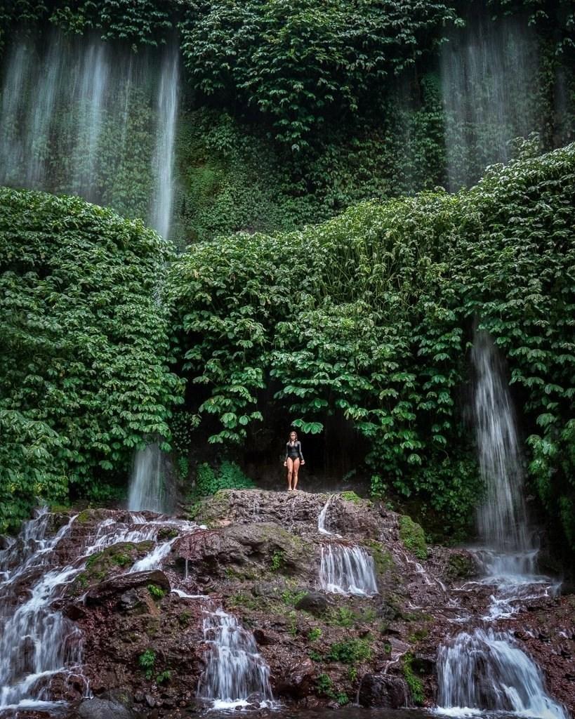 Benang Kelambu Waterfall near Kuta Lombok Indonesia