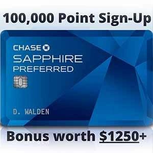 Chase Sapphire Preferred Travel Credit Card Bonus Point Offer 100000