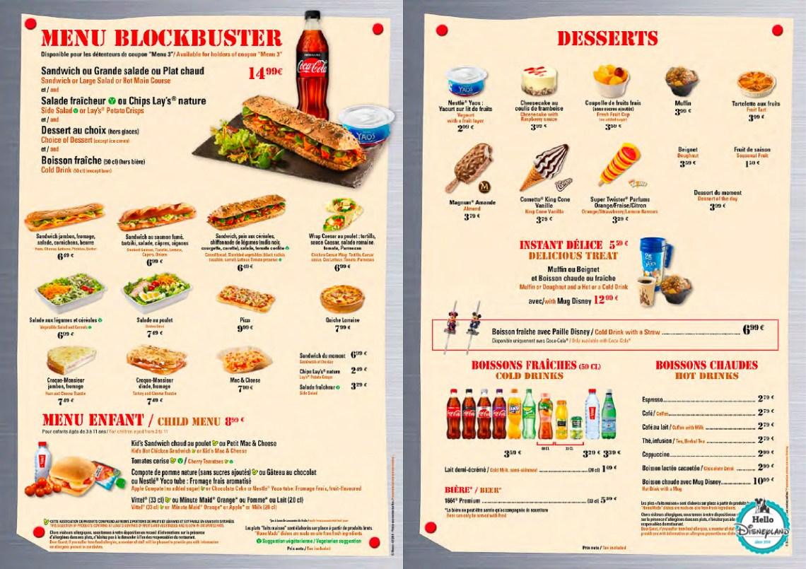 Menus Disney Blockbuster Café Disneyland Paris