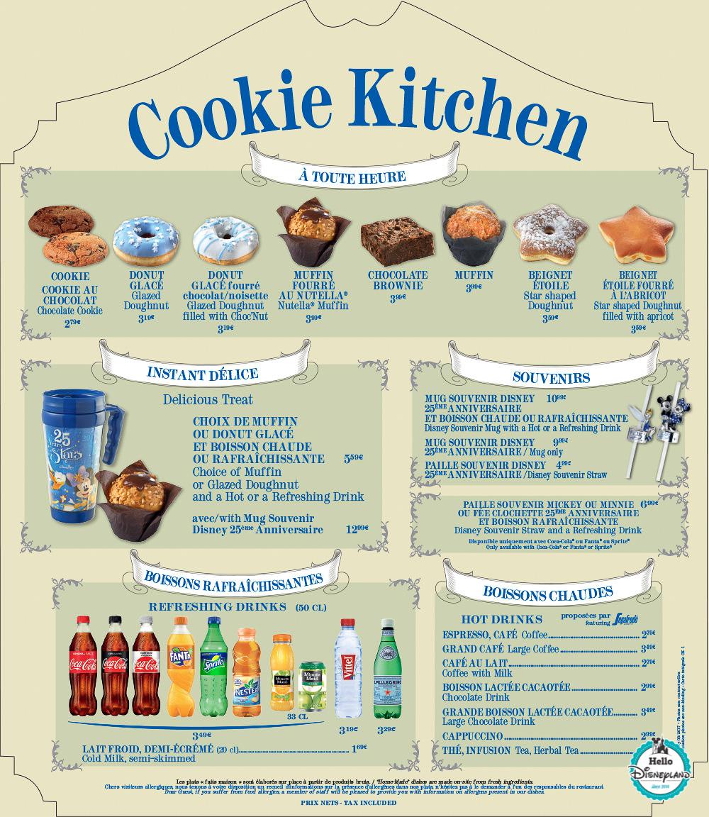 Menus Cookie Kitchen Disneyland Paris