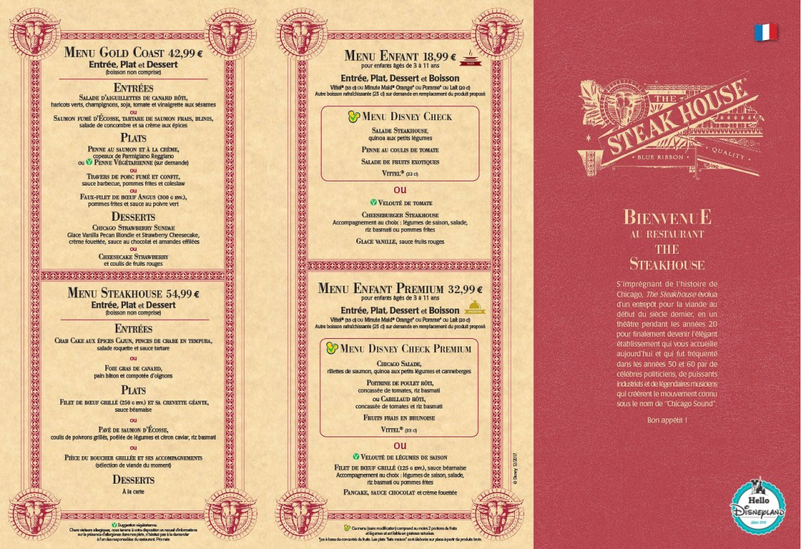 Menus Steakhouse Disney Village Disneyland Paris