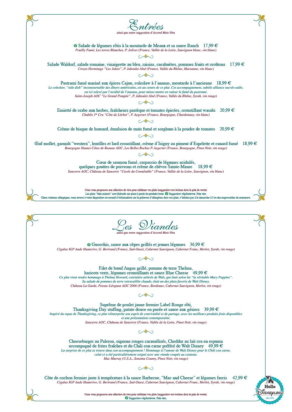 Menus Walt's – an American Restaurant Disneyland Paris