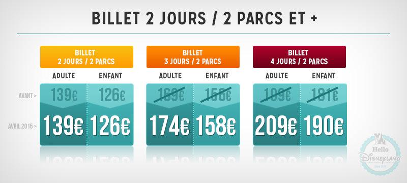 Disneyland Paris tarifs 2015 billets 2J billets 3J billet 4J