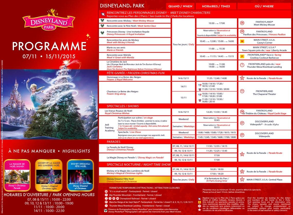 Programme noel disneyland paris 2015