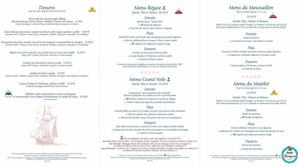 yacht club restaurant newport menu prix 2016