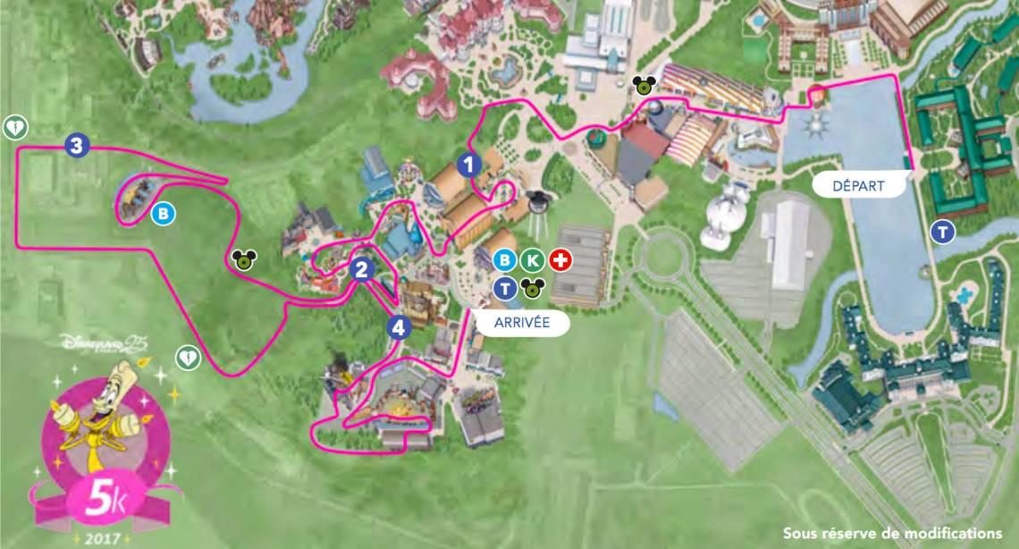 Parcours run disney 5K Walt Disney Studios
