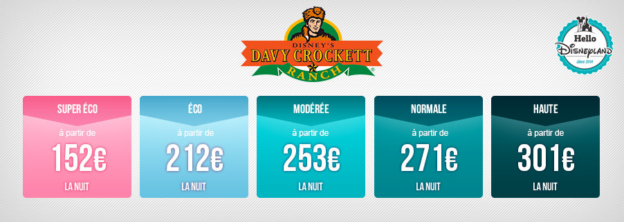 Tarifs nuits seches Disneyland Paris 2018 - Ranch Davy Crockett