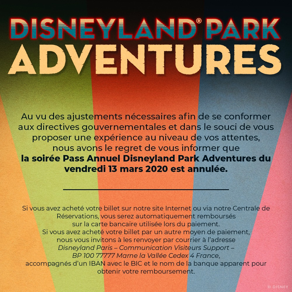 annulation soirée Pass Annuel mars 2020