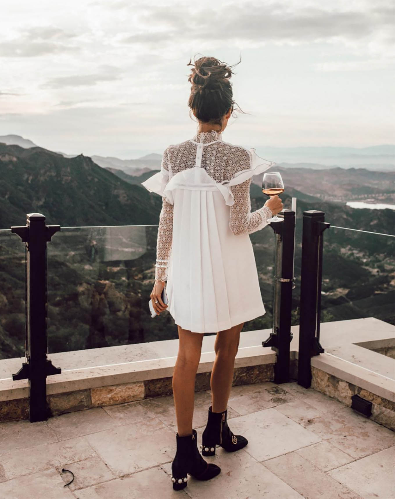 white dress and black boots