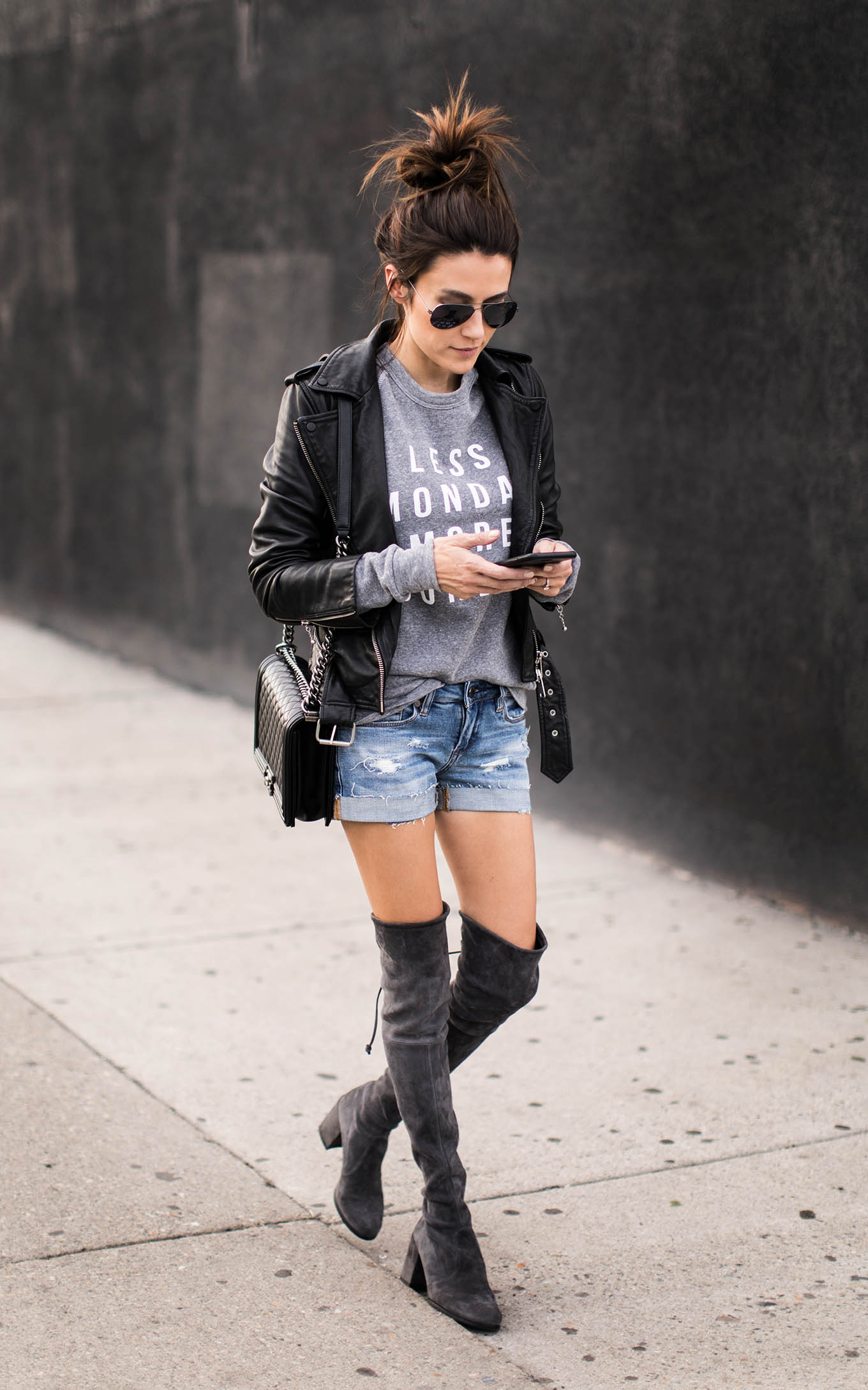 shorts and over the knee boots