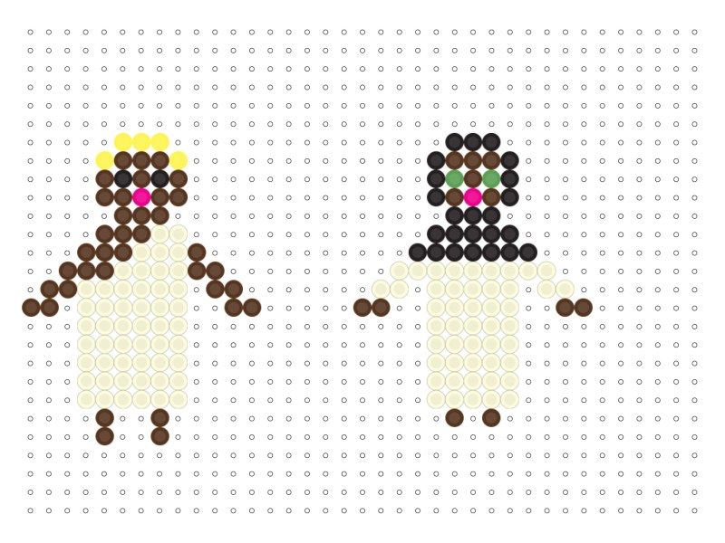 Perler Bead Hajji and Hajja Pattern by Hello Holy Days! Great for Eid al Adha crafting!