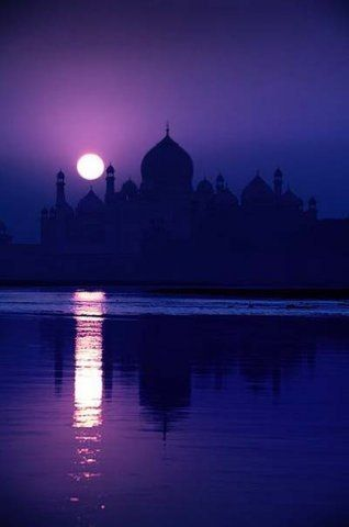 A mosque against a purple sky to illustrate Hello Holy Days! theory on Ramadan colors