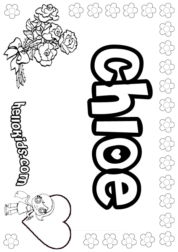 Girls Name Coloring Pages Chloe Girly Name To Color