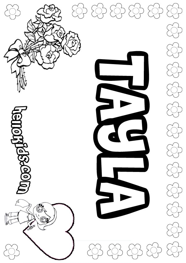 Girls Name Coloring Pages Tayla Girly Name To Color