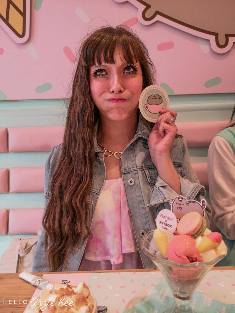 Super cute pusheen sundae at Artbox Cafe