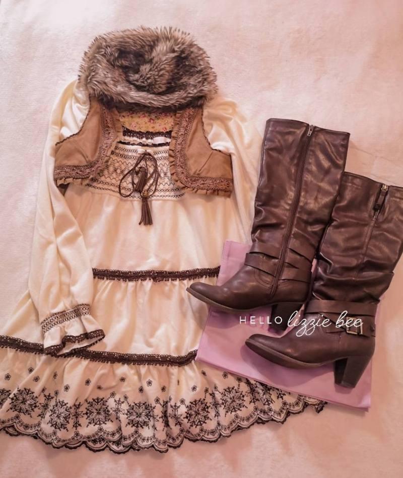 Cute himekaji winter outfit with Liz Lisa dress