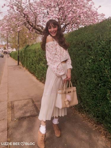 Himekaji coord with a white maxi dress