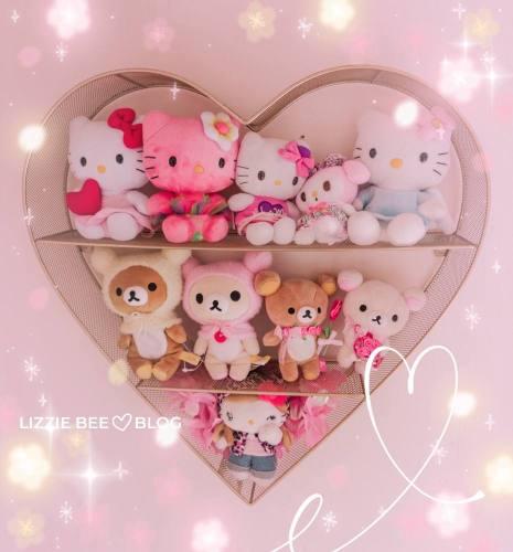 Kawaii heart shelf with Hello Kitty plushies