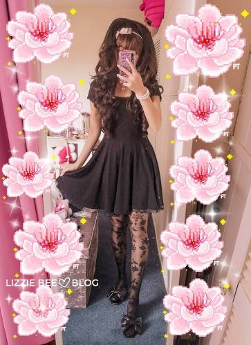 Hime gyaru outfit with a black dress