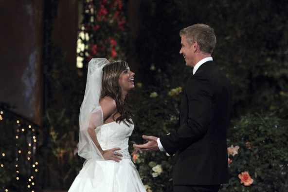 Sean Lowe is introduced to the Bachelor and giving out roses.