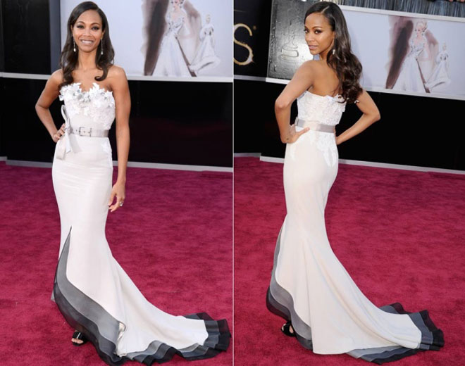 Zoe Saldana rocks an awesome dress on the Oscar red carpet.