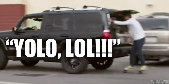 Ryan Lochte skateboards behind a truck when he goes bowling with his family on WWRLD.