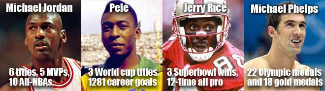 Sports icons Jerry Rice, Michael Jordan, Michael Phelps and Pelé.