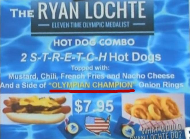 Ryan Lochte gets the Lochte Dog at Pink's on WWRLD.