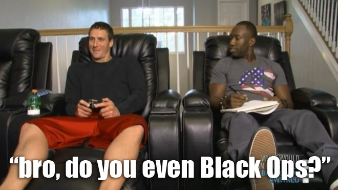 Ryan Lochte plays Call of Duty during his meeting with Gene.