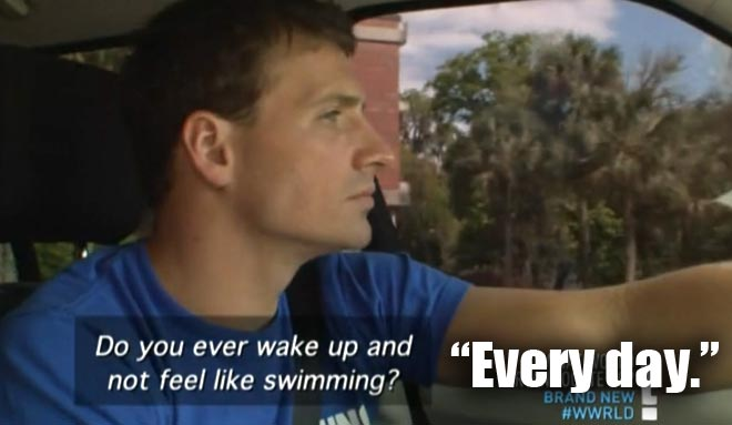 Ryan Lochte reveals that he never feels like waking up to swim every day on WWRLD.