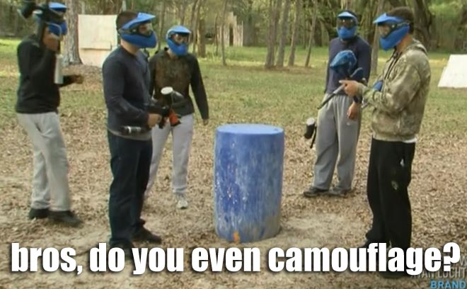 Ryan Lochte and the Lochterage wear camouflage during a paintball game on WWRLD.