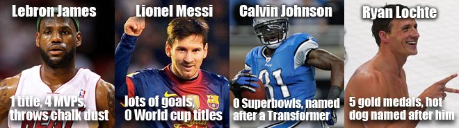 Sports guys who aren't icons but might be some day like Messi, Lochte, Calvin Johnson and Lebron james.