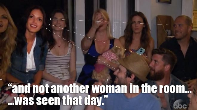 Desiree attends a Bachelorette viewing party on the men tell all.
