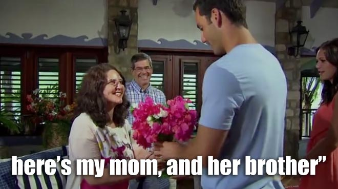 Chris meets Desiree's parents and brother on the bachelorette.