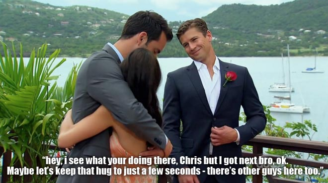 Drew and Chris hug Desiree in the final rose ceremony on the Bachelorette.