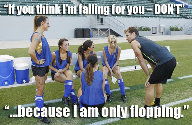 The Bachelor Juan Pablo talks to the blue team on their group soccer date.