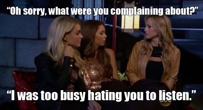 kelly talks with Nikki and Clare on the bachelor juan pablo.