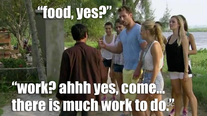 Bachelor Juan Pablo and the girls go to Tra Que Village in Vietnam.